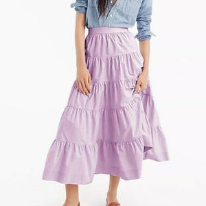 J.Crew Tiered Midi Skirt in Cotton Poplin NWT